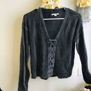AE crop top lace up sweater